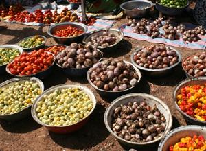 販売される野菜類